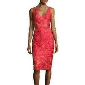 David Meister Red Embroidered Metallic Tulle Dress